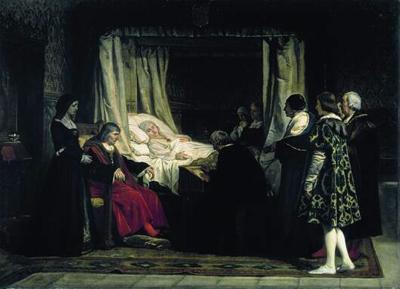 Cuadro de Eduardo Rosales. La Reina Isabel dicta su testamento