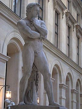 Estatua de Espartaco en  Museo de Louvre