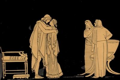 El encuentro de Ulises y Penélope, de John Flaxman
