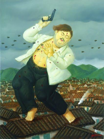Pintura de Botero sobre la muerte de Pablo Escobar