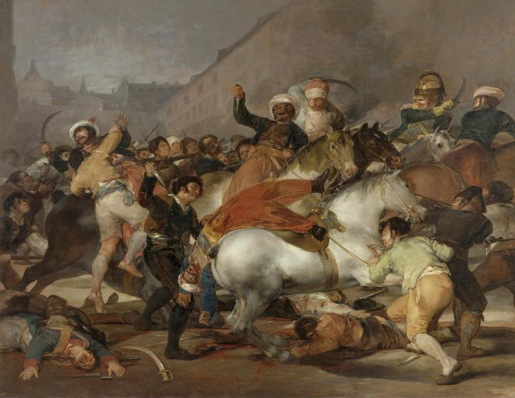 """El 2 de Mayo de 1808 en Madrid"""". 1814. Óleo sobre lienzo. 268 x 347 cm. Museo del Prado. Madrid. España."""