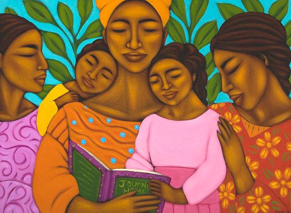 Pintura de Tamara Adams. Así me veo con mis hijos :D
