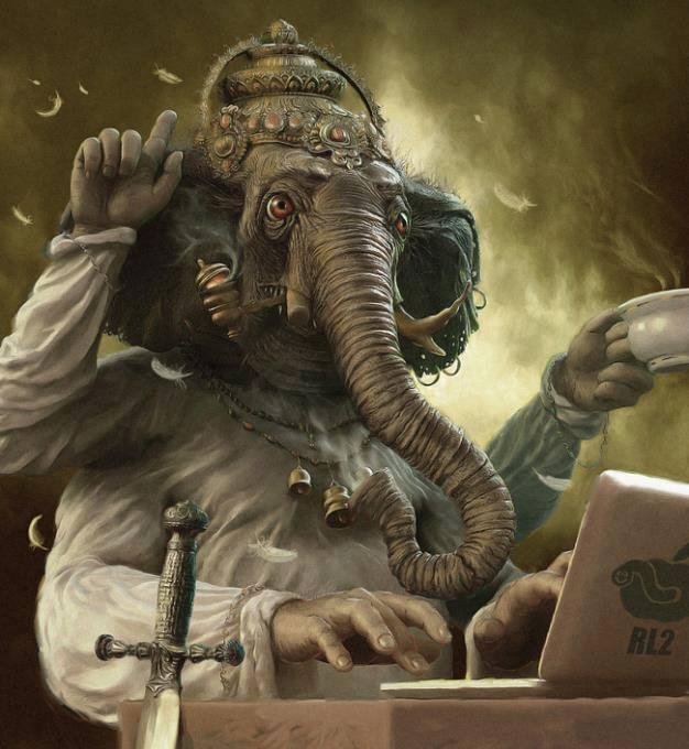 Estaba escribiendo precisamente la frase de ¿Cómo escribiría Ganesha hoy? cuando me apareció esta imagen en las noticias del facebook. Se parece a mí: pachoncito y con su café :D jijiji