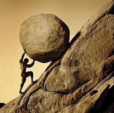 Sísifo: castigado a todos los días empujar una piedra hasta la cima, solo para verla caer y comenzar de nuevo.