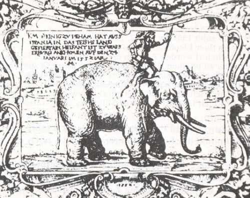 Grabado de 1552 retratando a Solimán y su cornaca. Fuente: http://soniaunleashed.com/2011/03/17/resenas-libros-leidos-2011-8-el-viaje-del-elefante/