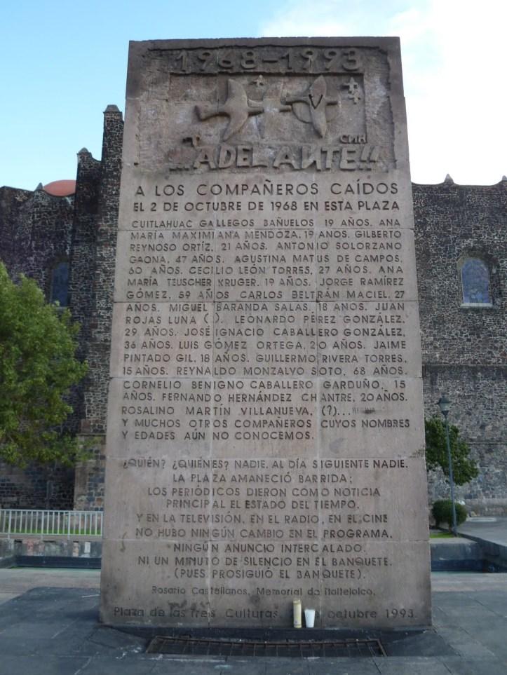 Monumento posterior al 68, en Tlatelolco.