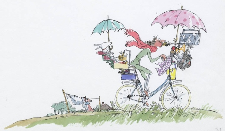 Ahí voy, no en patines, sino en bicicleta (puedo llevar más cosas jajaja). Dibujo de Quentin Blake.