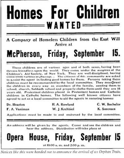 Anuncio donde anunciaban que buscaban hogares para los niños que llegarían en el tren.