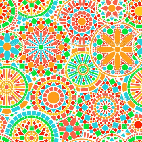 Círculos que coexisten y comparten o patrón, o color, o tamaño ;)