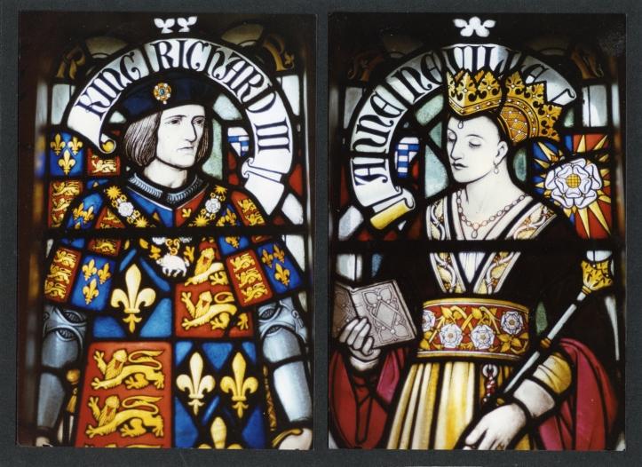 Vitral del rey Ricardo III y la reina Anna, en el castillo de Cardiff. (Ella era hija del hacedor de reyes).