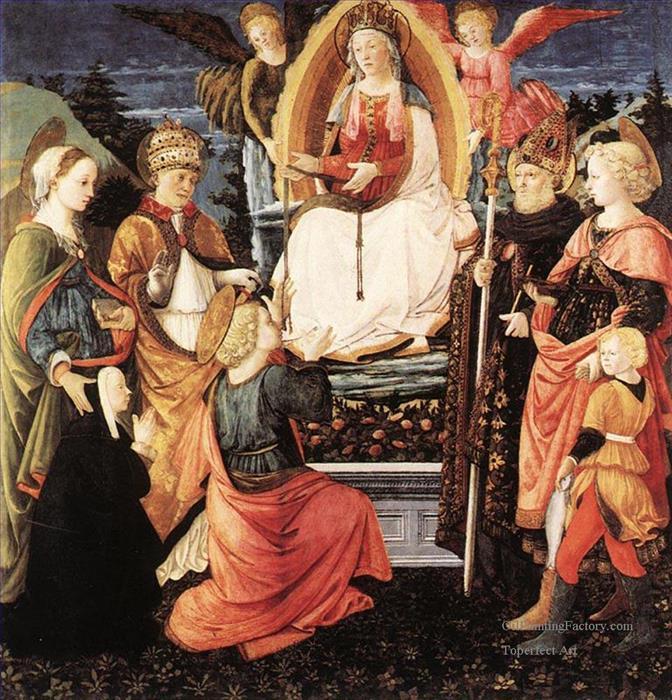Virgen entregando el cíngulo a Santo Tomás, pintura de Lippi.