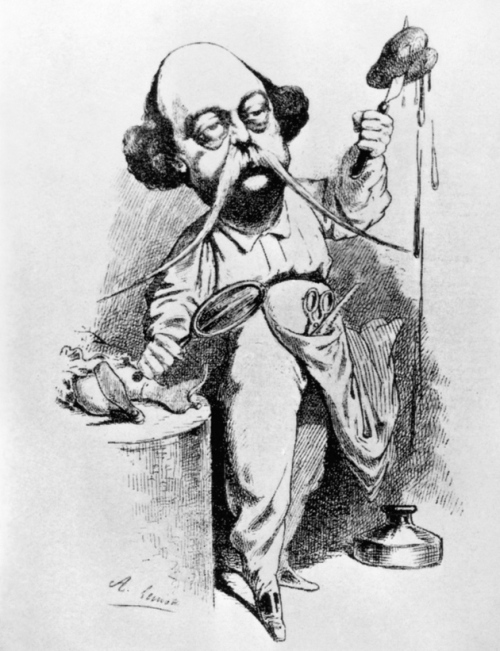 Caricatura de A. Lemot. Flaubert diseccionando a Madame Bovary.