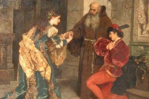 Romeo y Julieta ante el padre Lorenzo, pintura de Karl Ludwig Friedrich Becker