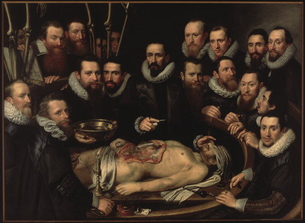 Lección de anatomía del Dr. Willem van der Meer, por el pintor holandés Michiel Jansz. van Mierevelt
