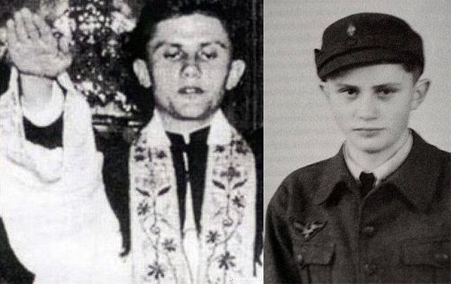 Joseph Ratzinger, con su uniforme de soldado, y ya ordenado sacerdote.