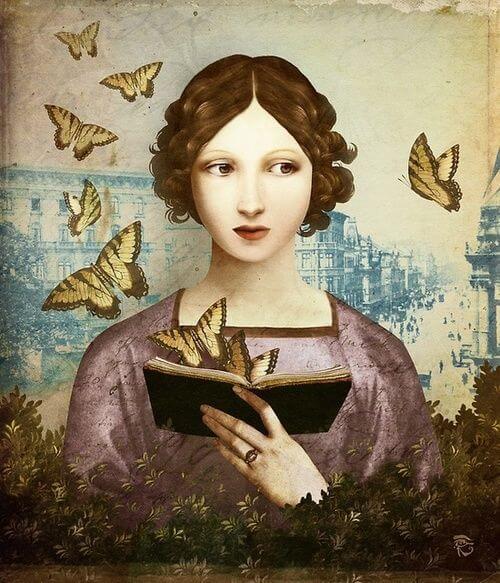 mujer-leyendo-un-libro-en-el-que-salen-mariposas